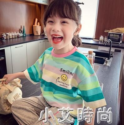 女童T恤夏裝2021新款兒童韓版洋氣撞色條紋短袖上衣小女孩打底衫 小艾新品