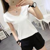 太安莉韓版白色V領T恤女短袖夏季新款修身顯瘦純色打底衫簡約女裝