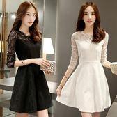 洋裝 蕾絲連身裙女裝新款韓版氣質修身顯瘦長袖裙子春秋打底裙 米蘭街頭