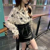 雪紡上衣 法式復古印花雪紡襯衫女長袖設計感小眾上衣網紅洋氣小心機襯衣潮 萊俐亞