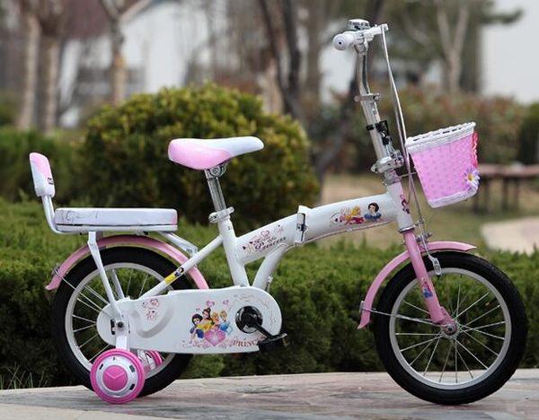 公主兒童折疊自行車腳踏車14吋【藍星居家】