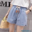 2021夏季新款韓版寬鬆緊帶薄款休閒牛仔短褲大碼女裝闊腿熱褲外穿 快速出貨