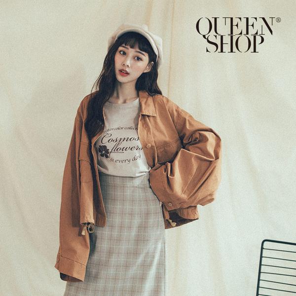 Queen Shop【02071116】基本百搭素色口袋造型長袖外套 兩色售*現+預*