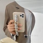 韓國ins氣質皮革手腕帶奶茶色蘋果手機殼 iphone12/11Promax/Xr/78Plus/Xsmax