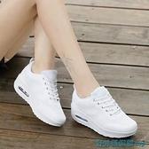 氣墊鞋 中國夢之隊春季新款飛織網面休閒氣墊運動增高厚底搖搖鞋旅游鞋女 快速出貨