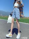 破洞牛仔短褲女薄款高腰年新款寬鬆顯瘦愛心直筒五分中褲 極有家