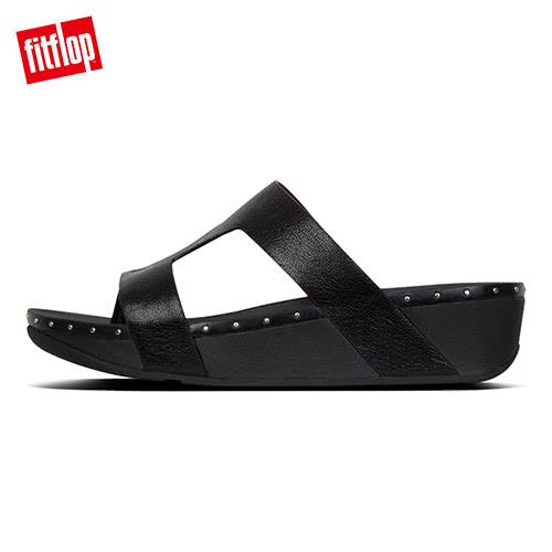 TOP 熱銷美鞋【FitFlop】MARLI H-BAR LEATHER SLIDES H型釘飾涼鞋-女(黑色)