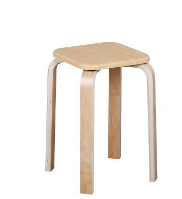 曲木小圓凳子加厚時尚簡約創意實木餐椅高板凳餐桌凳成人家用【原木纹方凳面】