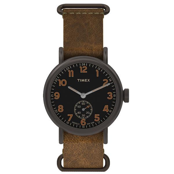 【時間道 】〔TIMEX。天美時〕簡約復古風潮六點小秒腕錶–灰黑面咖啡皮TW2P86800/TXT2P86800免運費