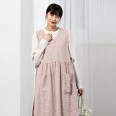 正韓 格紋開叉綁帶圍裙式洋裝 (9659) 預購