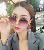 新款太陽鏡女多邊形漸變色韓版潮流墨鏡時尚防紫外線眼鏡 創想數位