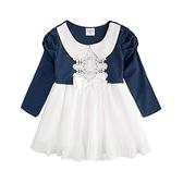 長袖洋裝 公主袖 紗質百摺裙 翻領 女童 氣質 連身裙 洋裝 紗紗裙 洋裙 Augelute 37199