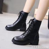 馬丁靴女百搭英倫風瘦腳機車靴粗跟休閒切爾西短靴2018新款中筒靴 漾美眉韓衣