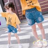 降價兩天 女童闊腿短褲 夏季2020新款潮兒童洋氣破洞牛仔褲 外穿女孩百搭褲子