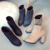 靴子冬季粗跟短靴女瘦黑色高跟鞋馬丁靴女英倫風加絨靴子