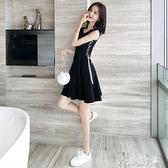 短袖洋裝 新款女連衣裙夏季小清新黑裙子高腰無袖短款小個子打底吊帶裙 快速出貨
