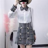 小清新套裝女秋小香風洋氣毛呢短裙女神范兩件套俏皮氣質 韓慕精品