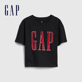 Gap 女童 Logo圓領短袖T恤 577861-正黑色