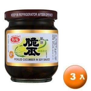 愛之味 鮮味脆瓜 玻璃罐 180g (6罐)/組