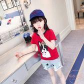 女童夏裝t恤新款兒童夏季卡通短袖上衣女大童時尚半袖童裝夏 【販衣小築】