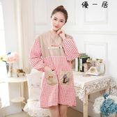 長袖可愛圍裙廚房圍腰防油罩衣