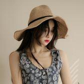 海灘帽 ins草帽女夏天防曬遮陽帽大檐沙灘帽太陽帽海邊度假帽 芭蕾朵朵