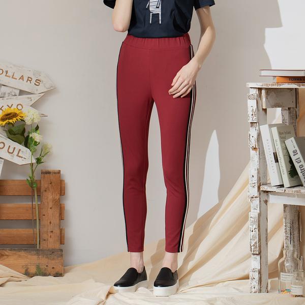 【中大尺碼】兩側配羅紋織帶長褲