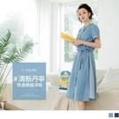 《DA7359-》清新高含棉綁帶條紋拼接丹寧洋裝 OB嚴選