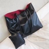 歐美大容量單肩包軟皮購物袋大包包時尚手提包撞色街頭女包子母包 【快速出貨】