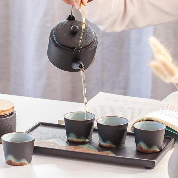 手繪遠山功夫茶具提梁壺茶葉罐套裝陶瓷茶盤商務個人 牛年新年全館免運