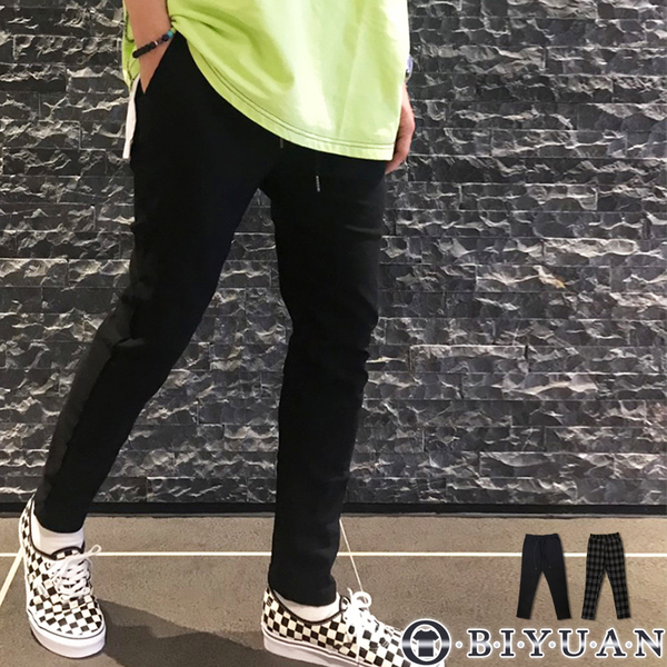 【OBIYUAN】長褲 韓國製 雅痞 格紋 彈性 九分休閒褲 共2色【BH508】
