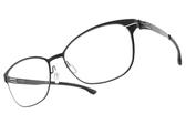 Ic! Berlin光學眼鏡 SUE R. BLACK (霧黑) 低調微造型框 薄鋼眼鏡 # 金橘眼鏡