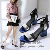 涼鞋/女夏露趾中粗跟拼色一字扣帶高跟鞋「歐洲站」