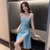 夜店洋裝 人魚姬閃閃性感v領吊帶洋裝女夏季夜店女裝不規則氣質修身裙子【快速出貨】