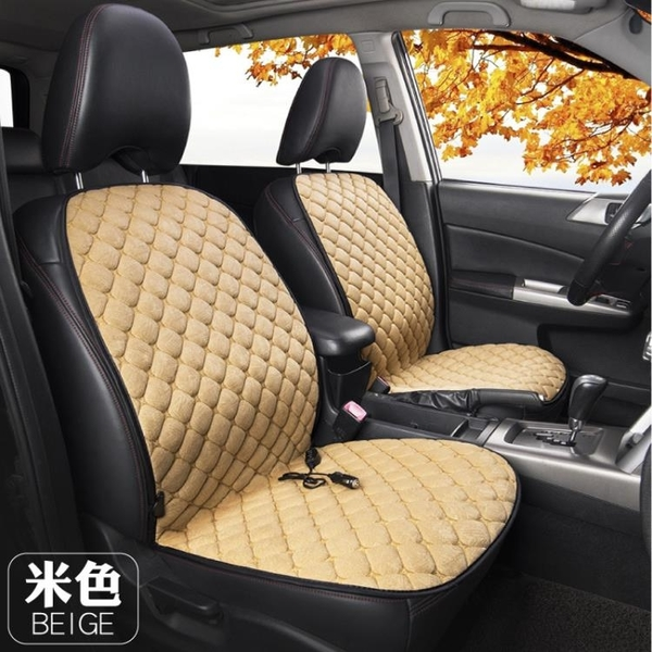 冬季汽車電加熱坐墊車載座椅毛絨單雙座車用座墊12V24V制熱保暖【新年特惠】