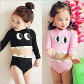 梨卡 - 兒童小童泳裝泳衣可愛大眼精靈小牙齒兒童款幼童長袖防曬兩件式泳衣CR439