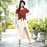 春夏7折[H2O]前開衩裡短裙設計顯瘦A字長版裙 - 磚紅/黑/米卡色 #0682011