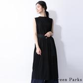 ❖ Hot item ❖ 腰間皮帶無袖連身裙 - Green Parks