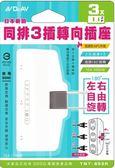 日本新創同排3插轉向插座-2P