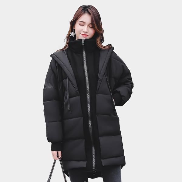 風衣外套--保暖顯瘦羅紋拉鍊口袋假兩件連帽羽絨棉大衣外套(黑M-3L)-J274眼圈熊中大尺碼◎