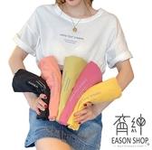 EASON SHOP(GW7300)韓版糖果色系撞色英文字母印花薄款長版OVERSIZE落肩短袖素色棉T恤裙連身裙寬鬆