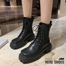 [Here Shoes] 5CM短靴 筒高16CM 高品質帥氣皮革方頭馬汀靴 綁帶方頭厚底靴 工作靴 馬丁靴─KWK008