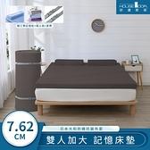 好適家居 真好捲大和防蹣抗菌藍晶靈記憶床墊7.62cm全配組-雙大可可棕