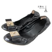 【巴黎站二手名牌專賣店】*現貨*Fendi 真品* Fendi 方金扣黑色漆皮 中跟娃娃鞋 (37.5)