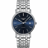 LONGINES浪琴 Presence 經典機械錶-藍x銀/38.5mm L49214926