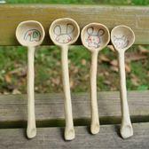 個性手工咖啡勺陶瓷創意手繪動物調羹可愛卡