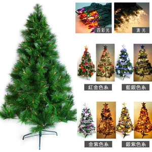 摩達客 台製12尺特級綠松針葉聖誕樹+飾品組+100燈鎢絲樹燈8串紅金色系配件+清光燈