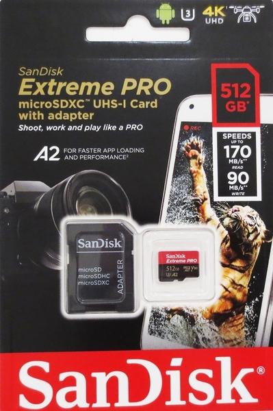 【免運】SanDisk 512GB 512G microSDXC Extreme Pro【170MB/s】microSD micro SD SDXC UHS U3 4K V30 A2 C10 手機記憶卡