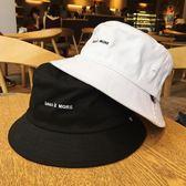 新品黑白色字母漁夫帽子女生簡約學生情侶遮陽帽盆帽男潮   蜜拉貝爾