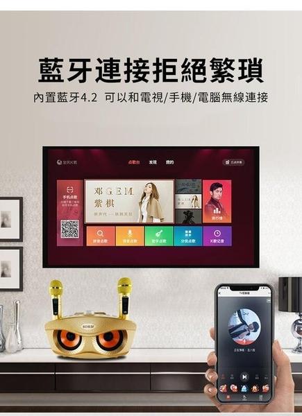 【Love Shop】升級版 SD306 PLUS 貓頭鷹麥克風 家庭ktv 無線雙人麥克風藍牙音箱